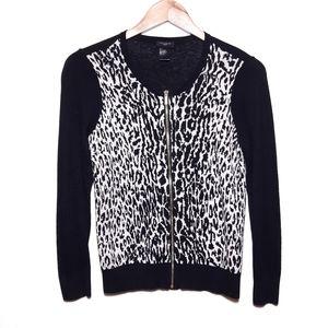 Ann Taylor Black Cream Cheetah Cardigan Sweater SP
